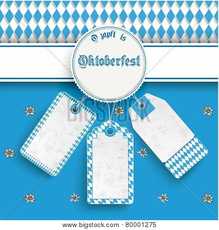 Bavarian Oktoberfest Price Stickers Banner Emblem Edelweiss