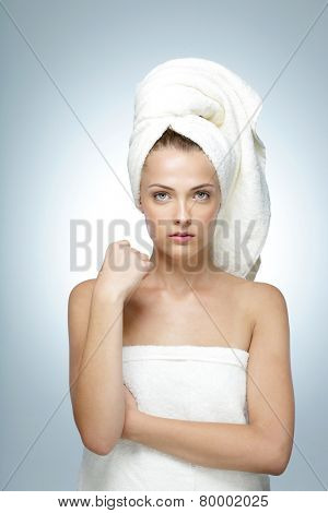 Portrait of young beautiful woman with perfect skin. Spa concept