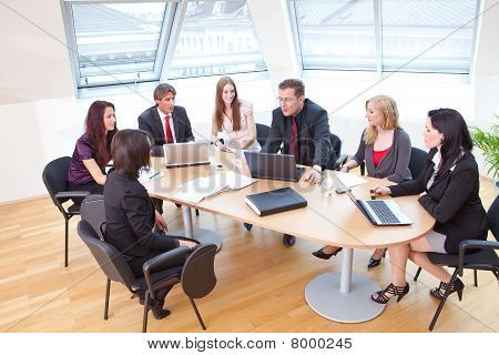 focus group on a business meeting in a modern office poster