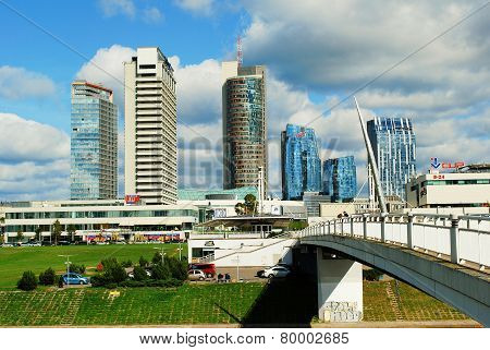 Vilnius City Center With Skyscrapers On September 24, 2014