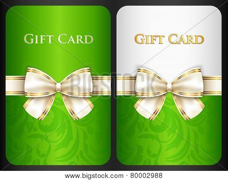 Scarlet Gift Card With Damask Ornament And Cream Diagonal Ribbon