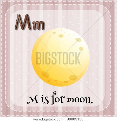 Illustration of an alphabet M is for moon