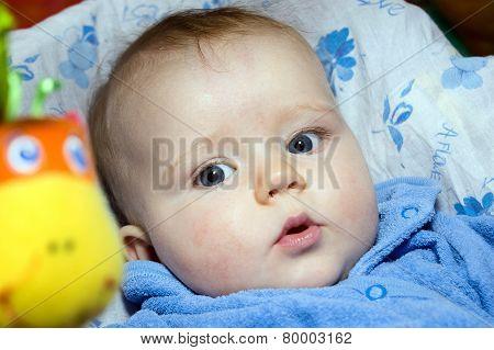 Adorable Cute Little Baby Close-up Portrait