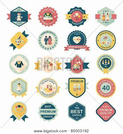 Wedding Badge Banner Flat Design Background Set,