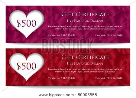 Valentine Gift Certificate With Paper Heart And Heart Ornament