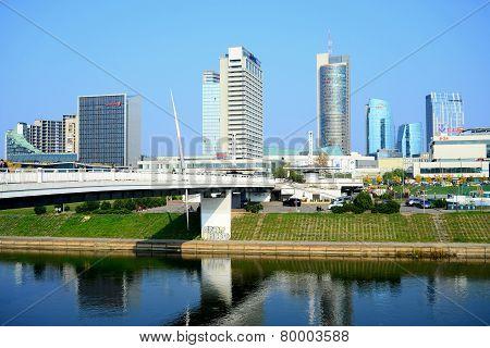 Vilnius City Skyscrapers And Walking Bridge View