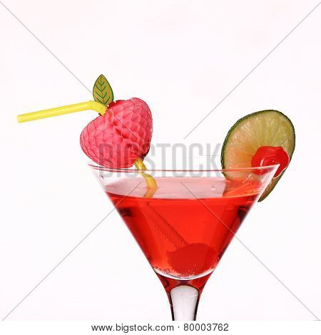 Cosmopolitan Martini Fresh Coctail Isolated On White
