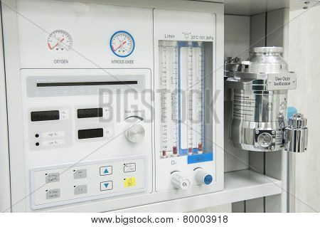 Flowmeter On Medical Hospital Anesthetic Machine