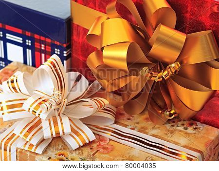 Bows on gift packages.