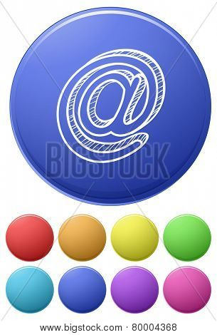 Small buttons and a big button with the at sign on a white background