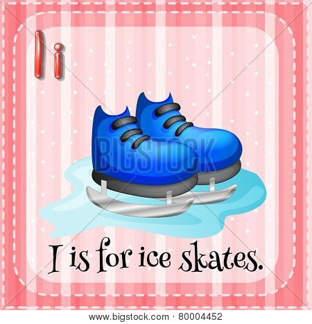 Illustration of an alphabet i is for ice skates