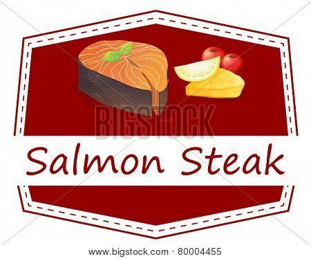 Illustration of a menu set of salmon steak