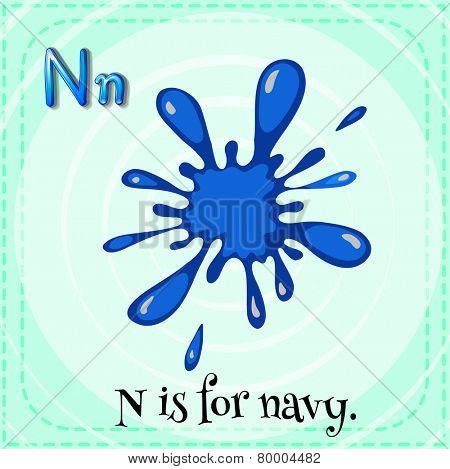 A letter N which stands for navy