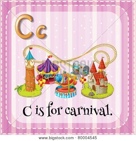 Illustration of an alphabet C is for carnival