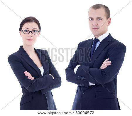 Portrait Of Young Handsome Man And Beautiful Woman In Business Suits Isolated On White