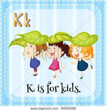Illustration of an alphabet K is for kids