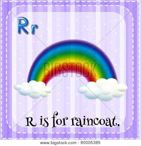 Illustration of an alphabet R is for rainbow