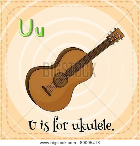 Illustration of an alphabet U is for ukulele