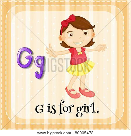 Illustration of an alphabet G is for girl