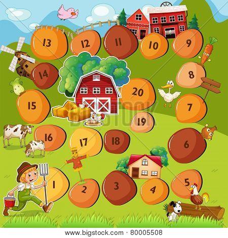 Illustration of a boardgame with farm scene