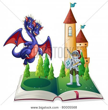 Illustration of a book of a knight and a dragon