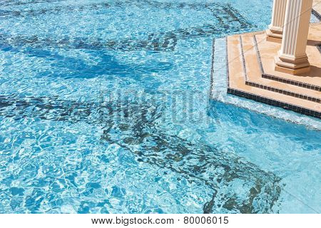 Exotic Luxury Swimming Pool Water and Architecture Abstract.