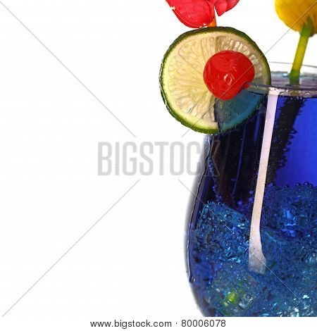 Blue Curacao Fresh Coctail Isolated On White