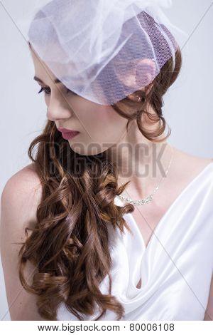 Closeup of a beautiful red head bride