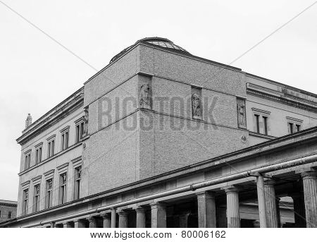 Neues Museum in Museumsinsel in Berlin Germany in black and white poster