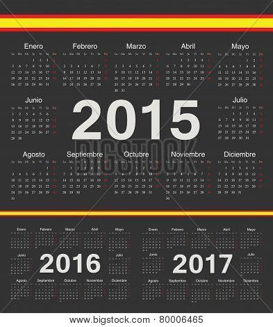 Vector Black Spanish Circle Calendars 2015, 2016, 2017