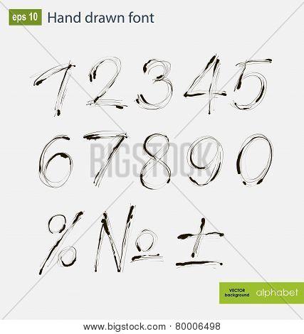 Vector Handwritten Arabic Numerals Set