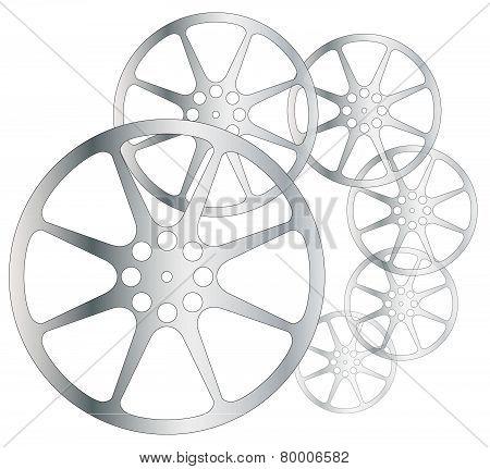 Movie Reels on white background