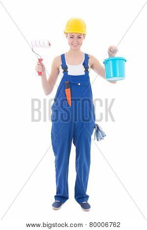 Young Beautiful Woman Painter In Workwear With Paintbrush And Bucket Isolated On White