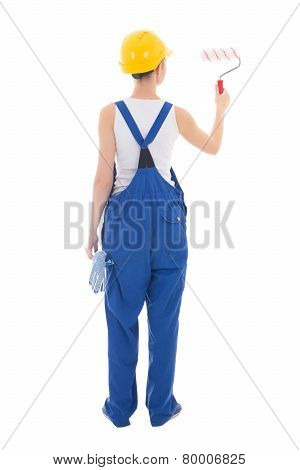 Back View Of Woman Painter In Workwear With Paintbrush Isolated On White