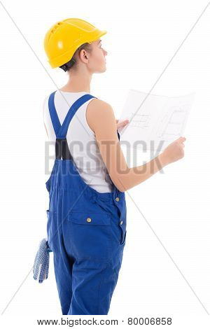 Back View Of Woman Builder In Blue Coveralls With Building Scheme Isolated On White