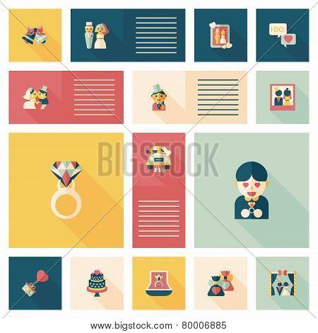 Wedding Flat Design Background Set