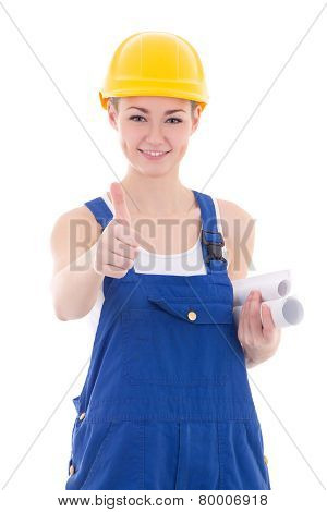 Portrait Of Happy Woman Builder In Blue Coveralls Thumbs Up Isolated On White
