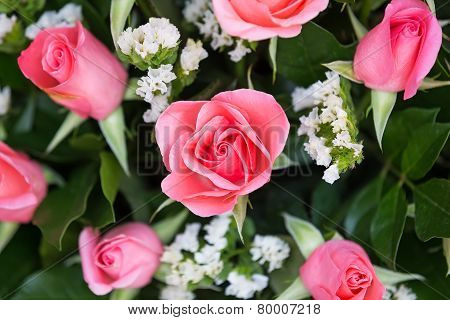 Bouquet With Pink Roses Close Up