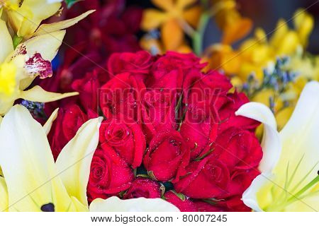 Bouquet With Red Roses, Lily And Orchid