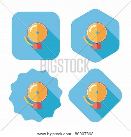 Alarm Bell Flat Icon With Long Shadow,