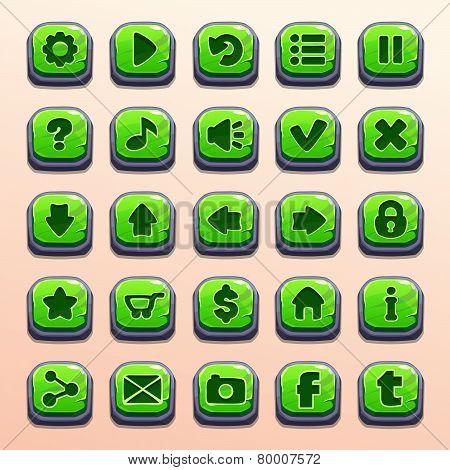 Big set of cartoon green buttons