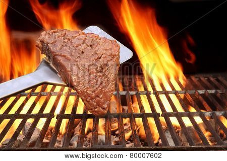 Raw Fillet Steak On The Spatula