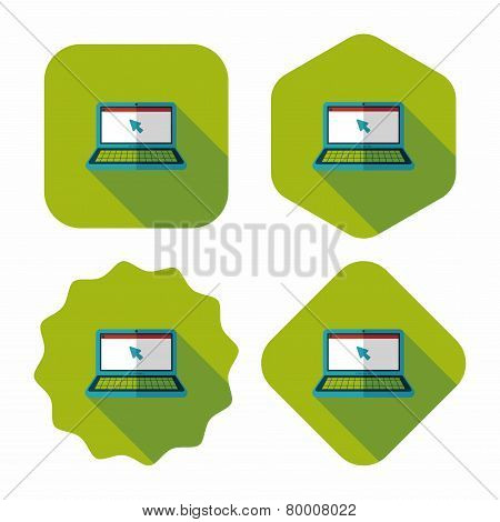 Laptop Flat Icon With Long Shadow,eps10