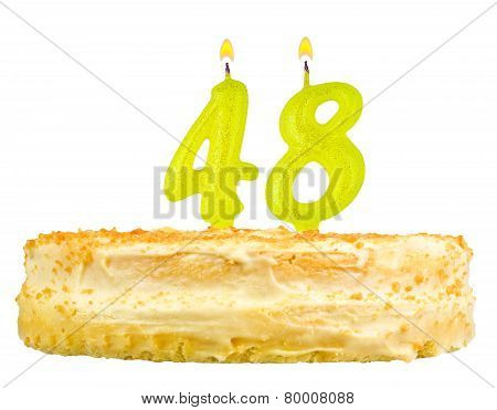 Birthday Cake With Candles Number Forty Eight