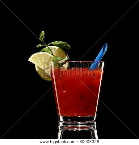 Bloody Mary Fresh Coctail Isolated On Black