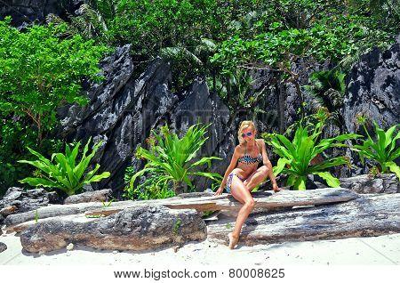 Girl in bikini on the beach, Philippines