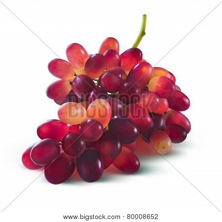 Red Grapes Bunch No Leaf Isolated On White Background