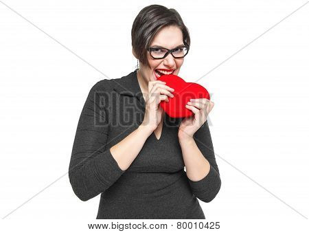 Beautiful Plus Size Woman Bites Red Heart Isolated