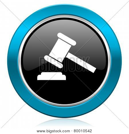 auction glossy icon court sign verdict symbol