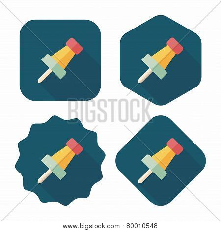 Push Pin Flat Icon With Long Shadow,eps10